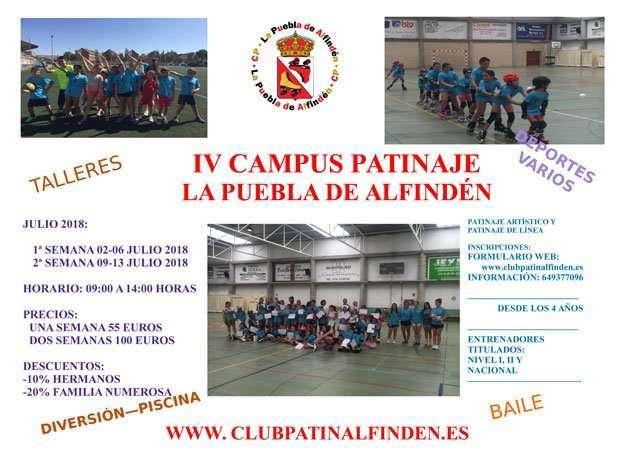 El Club Patín La Puebla de Alfindén organiza el IV Campus de Verano