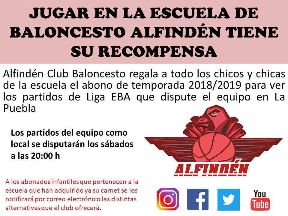 El Alfindén Club de Baloncesto regala a los jugadores/as de la Escuela de Baloncesto de La Puebla el abono de temporada