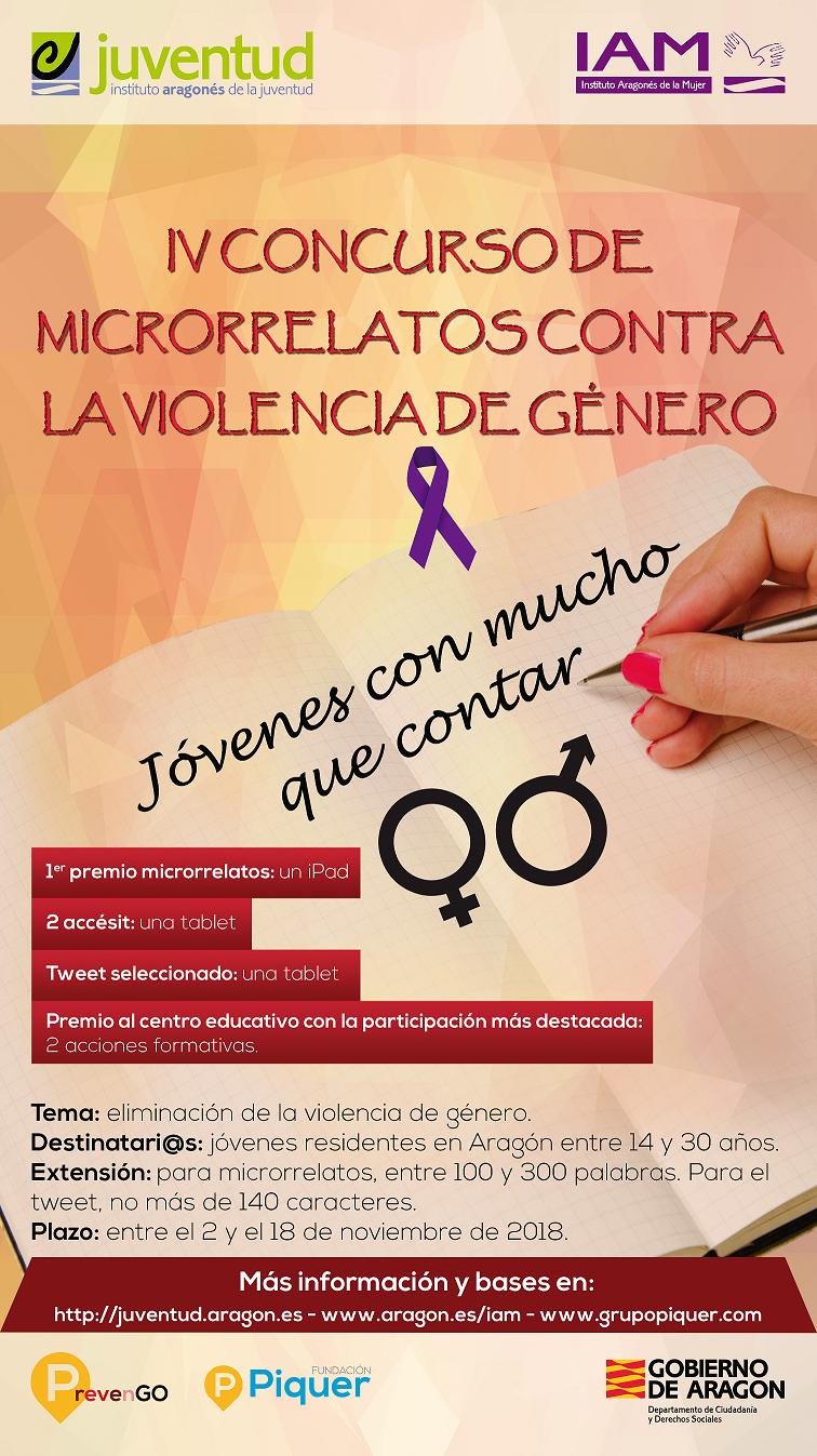 """Concurso de Microrrelatos contra la violencia de género """"Jóvenes con mucho que contar"""""""