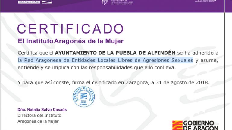 El Instituto Aragonés de la Mujer certifica la adhesión del Ayuntamiento a la Red Aragonesa de Entidades Locales Libres de Agresiones Sexuales