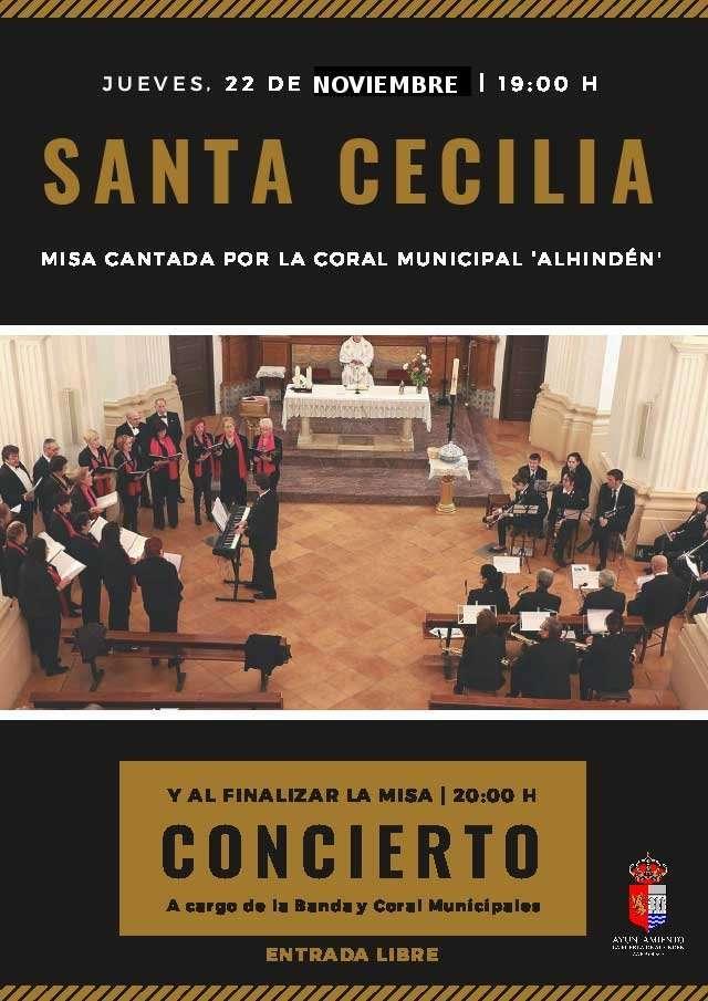 Santa Cecilia – Misa cantada por la Coral Municipal «Alhindén» y concierto posterior de Coral y Banda Municipales