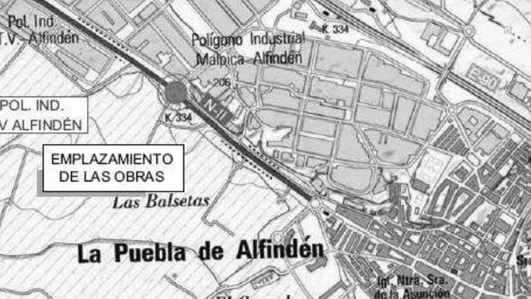 Reproducción de nota de prensa del Ministerio de Fomento: licitación de las obras para la construcción de una glorieta en la N-II en La Puebla de Alfindén