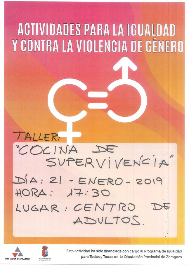 Actividades en favor de la igualdad : Taller 'Cocina de Supervivencia'