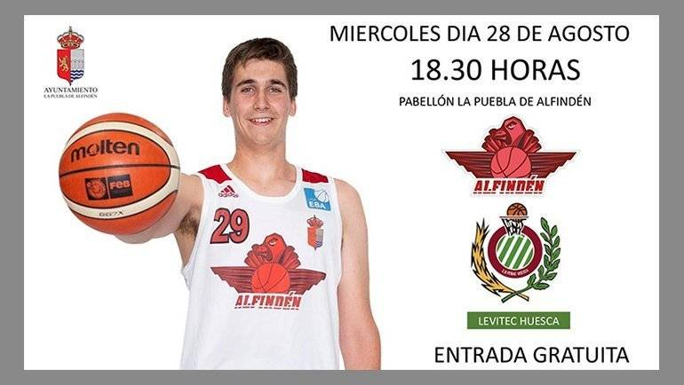 Partido amistoso Alfindén CB vs Levitec Huesca el 28 de agosto a las 18:30h