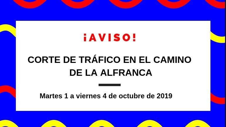 Corte de tráfico en el Camino de La Alfranca