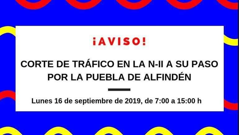 Corte de tráfico en la N-II a su paso por La Puebla de Alfindén y desvío de la línea de autobús L211
