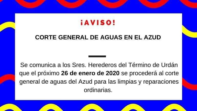 Corte general de aguas en el Azud