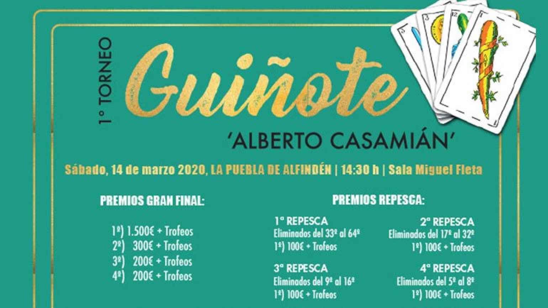 1º Torneo Provincial de Guiñote 'Alberto Casamián' en La Puebla de Alfindén
