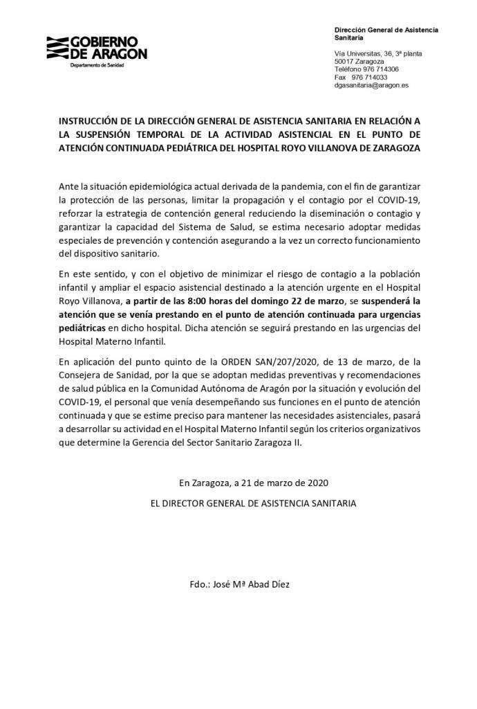 Suspensión urgencias pediátricas Royo Villanova