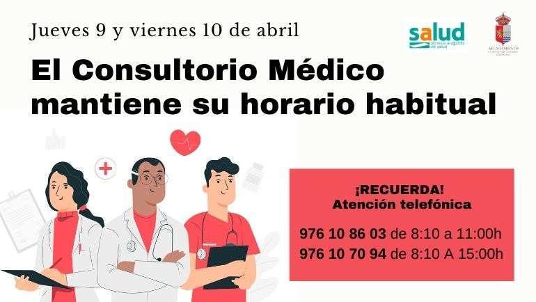 El consultorio médico mantiene su horario habitual el Jueves y Viernes Santo