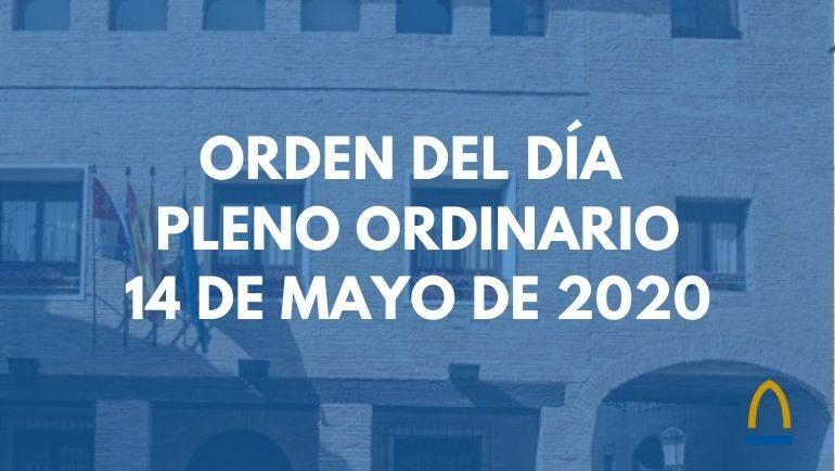 Orden del día del Pleno Ordinario a celebrar este jueves, 14 de mayo
