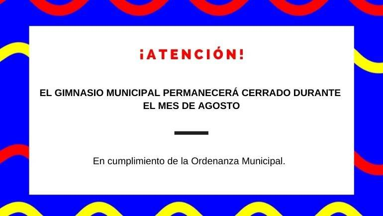 El gimnasio municipal permanecerá cerrado durante el mes de agosto