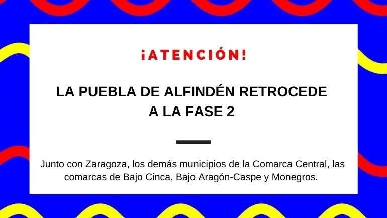 La Puebla de Alfindén y el resto de municipios de la Comarca Central retroceden a Fase 2