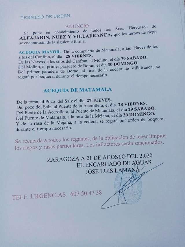 Turnos de riego Término de Urdán del 22 agosto al 1 septiembre. Alfajarín, Nuez y Villafranca
