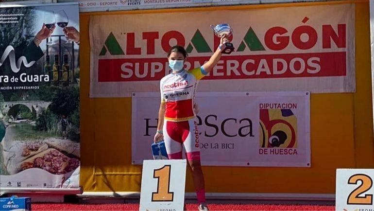 La alfindeña Cristina Rueda, campeona de Aragón de ciclismo en ruta
