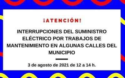 Interrupción del suministro eléctrico por trabajos de mantenimiento