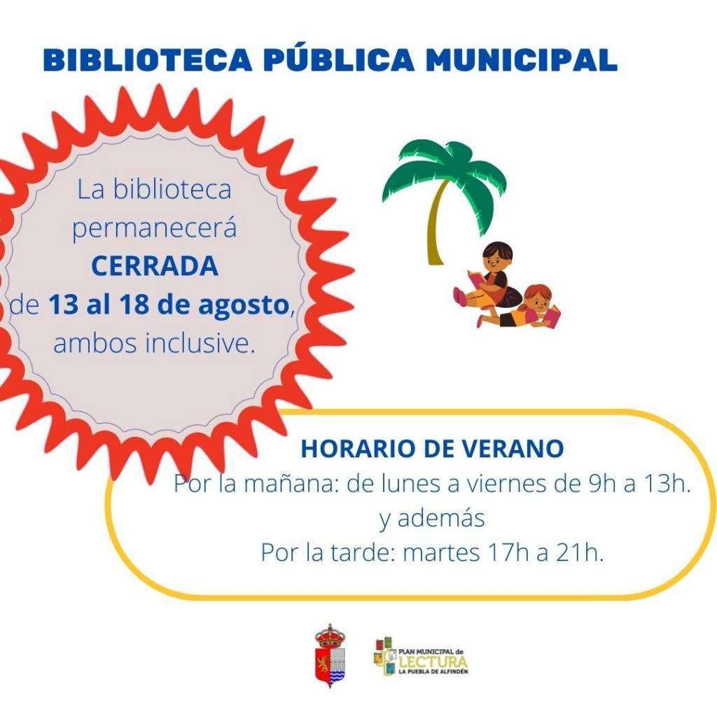 Cierre Biblioteca Municipal vacaciones de verano 2021