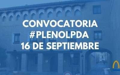 Orden del día Pleno Ordinario 16 de septiembre
