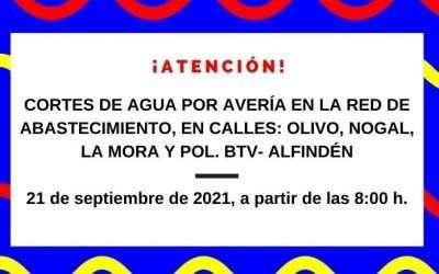 Cortes de agua previstos para el martes, 21 de septiembre