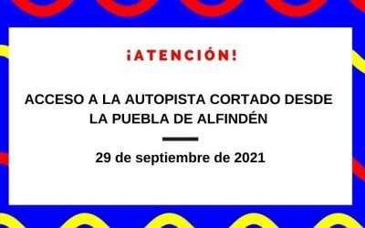Acceso a la Autopista AP-2 desde La Puebla cortado