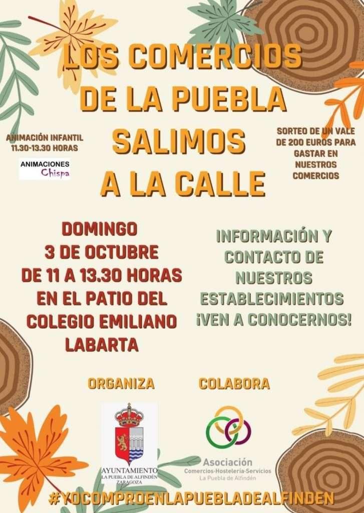 Cartel evento comercios de La Puebla salen a la calle
